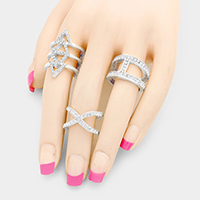 3 PCS -Rhinestone Cut Out Cage Rings