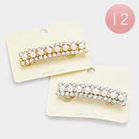 12 PCS Stone Pearl Accented Hair Barrettes