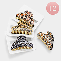 12 PCS - Leopard Pattern Hair Claw Clips