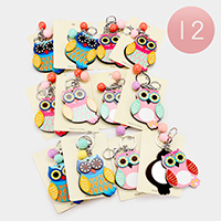 12PCS - Owl Compact Mirror Key Chains