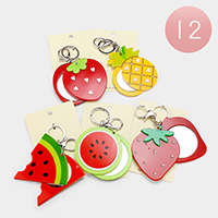 12PCS - Fruits Compact Mirror Keychains