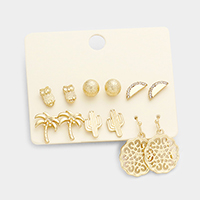 6 Pairs Metal Mix Stud Earrings Set