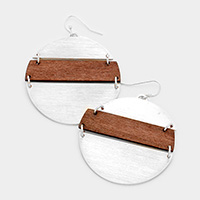 Wood Metal Link Disc Earrings