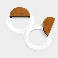 Wood Metal Hoop Earrings