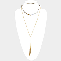 Layered Weave Multi Bead Drop Double Chain Tassel Necklace