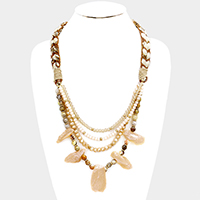 Layered Multi Beaded Abstract Stone Bib Necklace