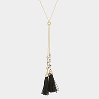 Double Tassel Y Shaped Long Necklace