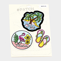 3 PCS  Embroidered Flamingo Palm Tree Shoes Patch Set