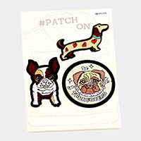 3 PCS  Embroidered Dogs Patch Set