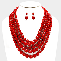 Multi Strand Mixed Pearl Necklace