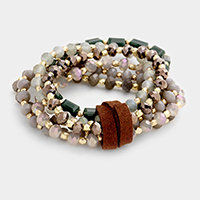 Faux suede detail multi-strand glass bead stretch bracelet