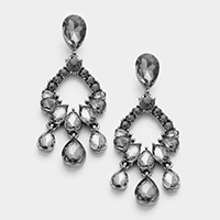 Marquise Glass Teardrop Accented Evening Earrings