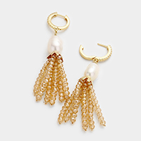 Fresh Water Pearl Beaded Tassel Earrings