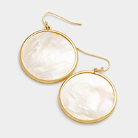 Mother of Pearl Round Dangle Earrings