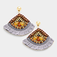Multi Beaded Fringe Thread Fan Shaped Earrings