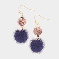 Chain Ball Pom Pom Dangle Earrings