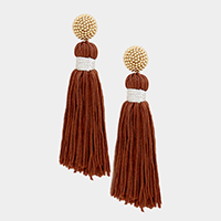 Wrapped Ball Chain Drop Tassel Earrings