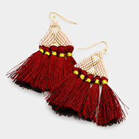Beaded Loom Fringe Fan Tassel Earrings
