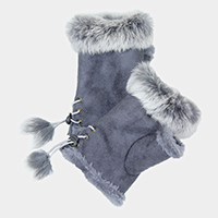 Fingerless Faux Fur Trim Gloves