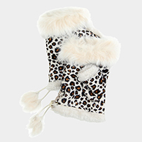 Leopard Fingerless Faux Fur Trim Gloves