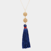 Chain Ball Drop Tassel Long Necklace