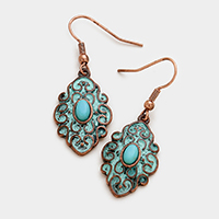 Embossed Turquoise Accented Dangle Earrings