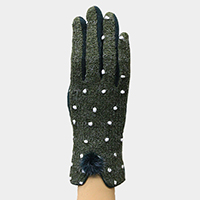 Polka Dot Pattern Pom Pom Touch Gloves