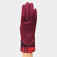 Plaid Check Detail Smart Gloves