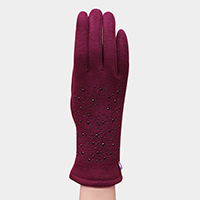 Stone Jeweled Detail Touch Gloves