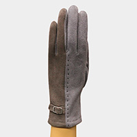 Two Tone Color Buckle Detail Touch Gloves