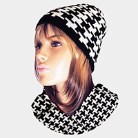 Houndstooth Check Hat Scarf Set