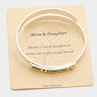 Mom & Daughter Cross Heart Cuff Bracelet