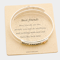 Best Friends Heart Metal Cuff Bracelet