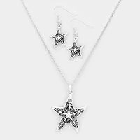 Embossed Starfish Metal Pendant Necklace