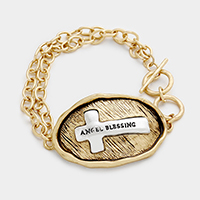 Angel Blessing Cross Metal Toggle Bracelet