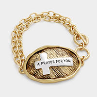 A Prayer For You Cross Metal Toggle Bracelet