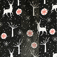 Silk Feel Striped Rudolph Snowflake Print Scarf