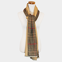 Solid Plaid Check Double Sided Poncho / Scarf