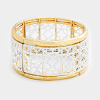 Filigree Two Tone Stretch Bracelet