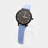 Faux Leather Round Strap Watch
