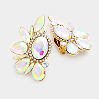 Marquise Floral Glass Stone Clip on Earrings