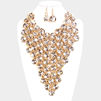 Chunky Round Crystal Cluster Statement Bib Necklace