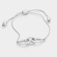 Triple Oval Metal Hoop Cinch Bracelet