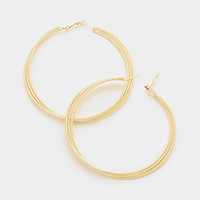 Oversized Triple Metal Hoop Earrings