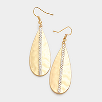 Rhinestone Trim Metal Teardrop Earrings