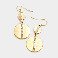 Rhinestone Trim Double Disc Metal Earrings