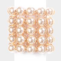 Weave Chain Pearl Stack Stretch Bracelet