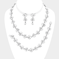 3 PCS Crystal Rhinestone Pearl Leaf Cluster Necklace Set