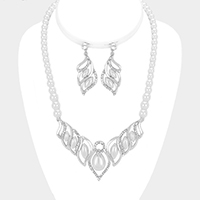 Crystal Rhinestone Pearl Accented Statement Necklace