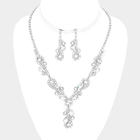 Floral Crystal Rhinestone Marquise Necklace
